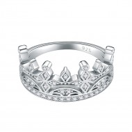 925 Sterling Silver Rhodium Plated with AAA Cubic Zirconia Stones Crown Statement Rings for Women