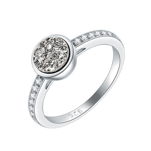 925 Sterling Silver Rhodium Plated with AAA Cubic Zirconia Stones Engagement Rings for Women