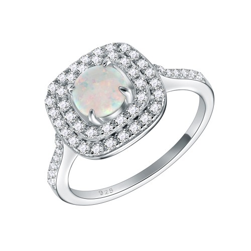 925 Sterling Silver Rhodium Plated with White Round Opal & Cubic Zirconia Engagement Rings for Women