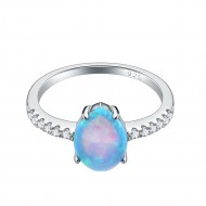 925 Sterling Silver Rhodium Plated with Blue Tear Opal & Cubic Zirconia Engagement Rings for Women