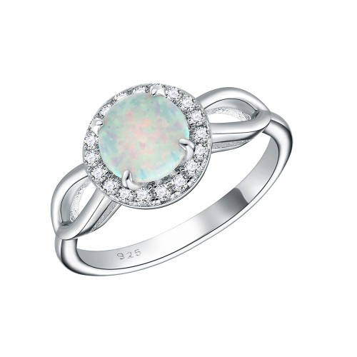 925 Sterling Silver Rhodium Plated with White Round Opal and Cubic Zirconia Engagement Rings for Women