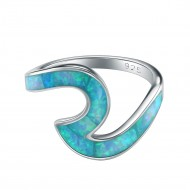 925 Sterling Silver Rhodium Plated with Blue Opal Wave Statement Rings for Women
