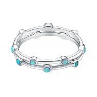 925 Sterling Silver Rhodium Plated with Blue Opal Eternity 2 pcs Band Sets for Women