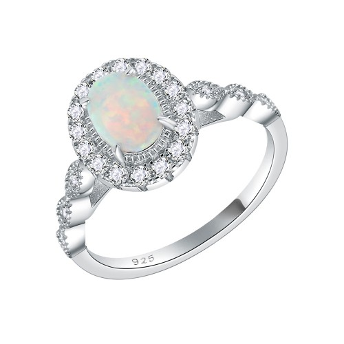 925 Sterling Silver Rhodium Plated with White Oval Opal and Cubic Zirconia Engagement Rings for Women
